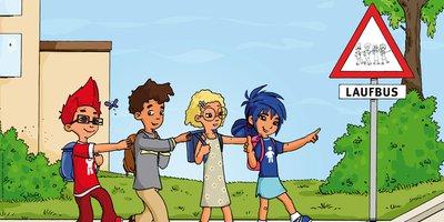 """Bei den Aktionstagen """"Zu Fuß zur Schule und zum Kindergarten"""" gehen Kinder zu Fuß zur Schule oder zur Kita und lernen so, sich selbstständig und sicher im Verkehr zu bewegen."""