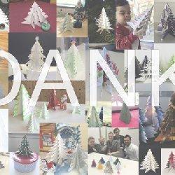 Pro gebasteltem Weihnachtsbaum spendete das Unternehm eder für kinder in Not zugunsten des Deutschen Kinderhilfswerkes. Auf diese Weise kamen 760 Euro zusammen. Danke!